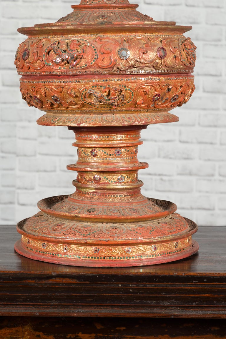Antique Burmese Carved Teak Lidded Offering Bowl with Inlaid and Gilt Decor For Sale 4