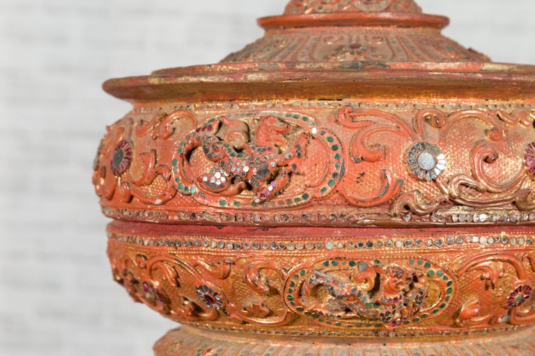 Antique Burmese Carved Teak Lidded Offering Bowl with Inlaid and Gilt Decor For Sale 5