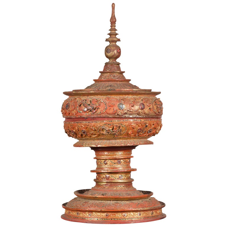 Antique Burmese Carved Teak Lidded Offering Bowl with Inlaid and Gilt Decor For Sale