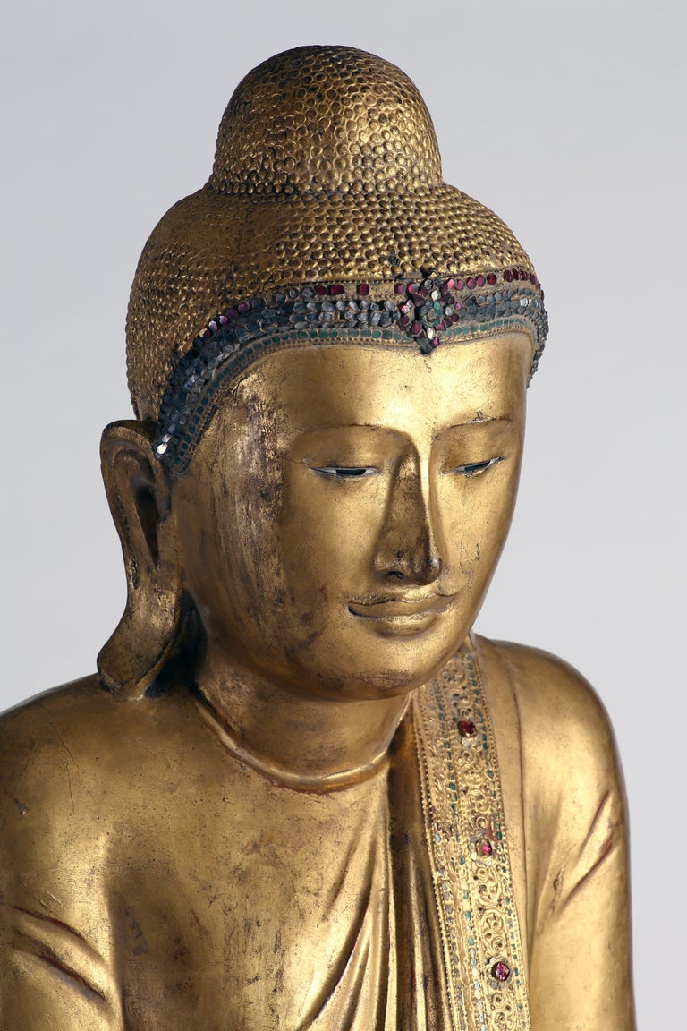 Antique Burmese Gilt Standing Buddha, Mandalay, 19th Century For Sale 5