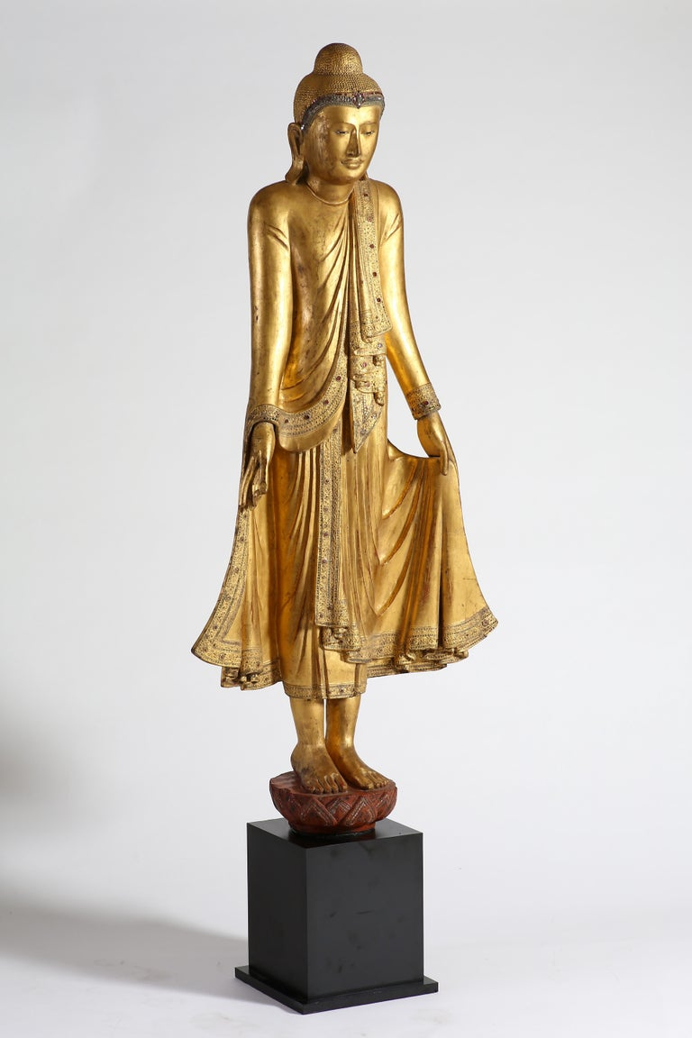 Hand-Carved Antique Burmese Gilt Standing Buddha, Mandalay, 19th Century For Sale
