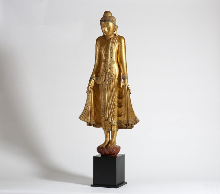 Gold Leaf Antique Burmese Gilt Standing Buddha, Mandalay, 19th Century For Sale