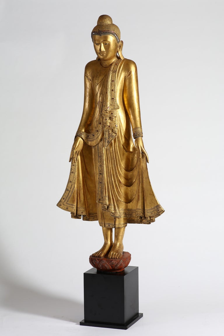 Antique Burmese Gilt Standing Buddha, Mandalay, 19th Century For Sale 1