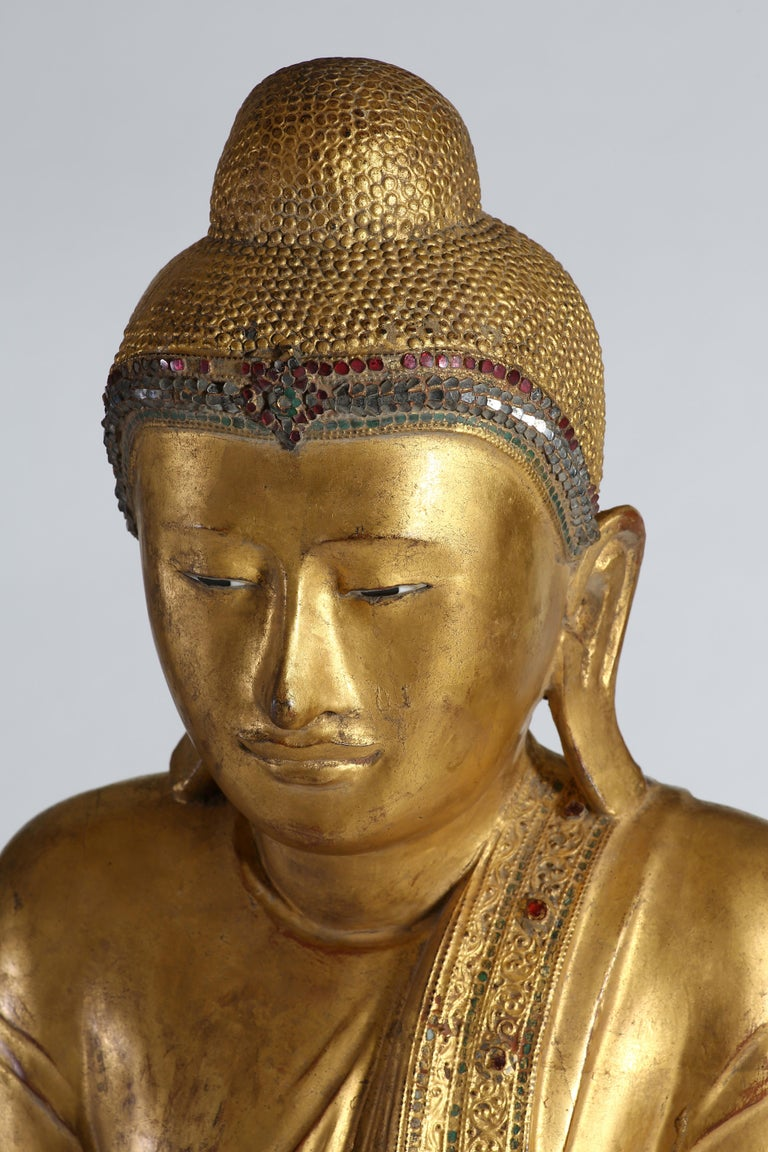 Antique Burmese Gilt Standing Buddha, Mandalay, 19th Century For Sale 2