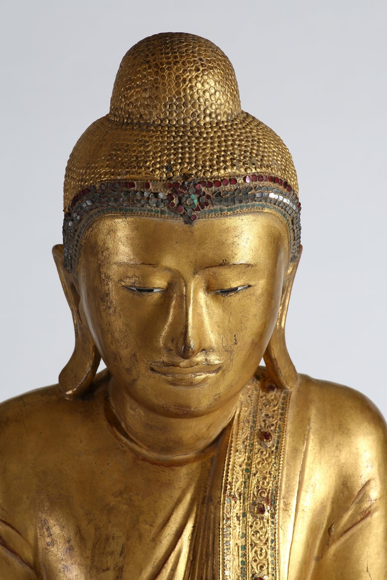 Antique Burmese Gilt Standing Buddha, Mandalay, 19th Century For Sale 3