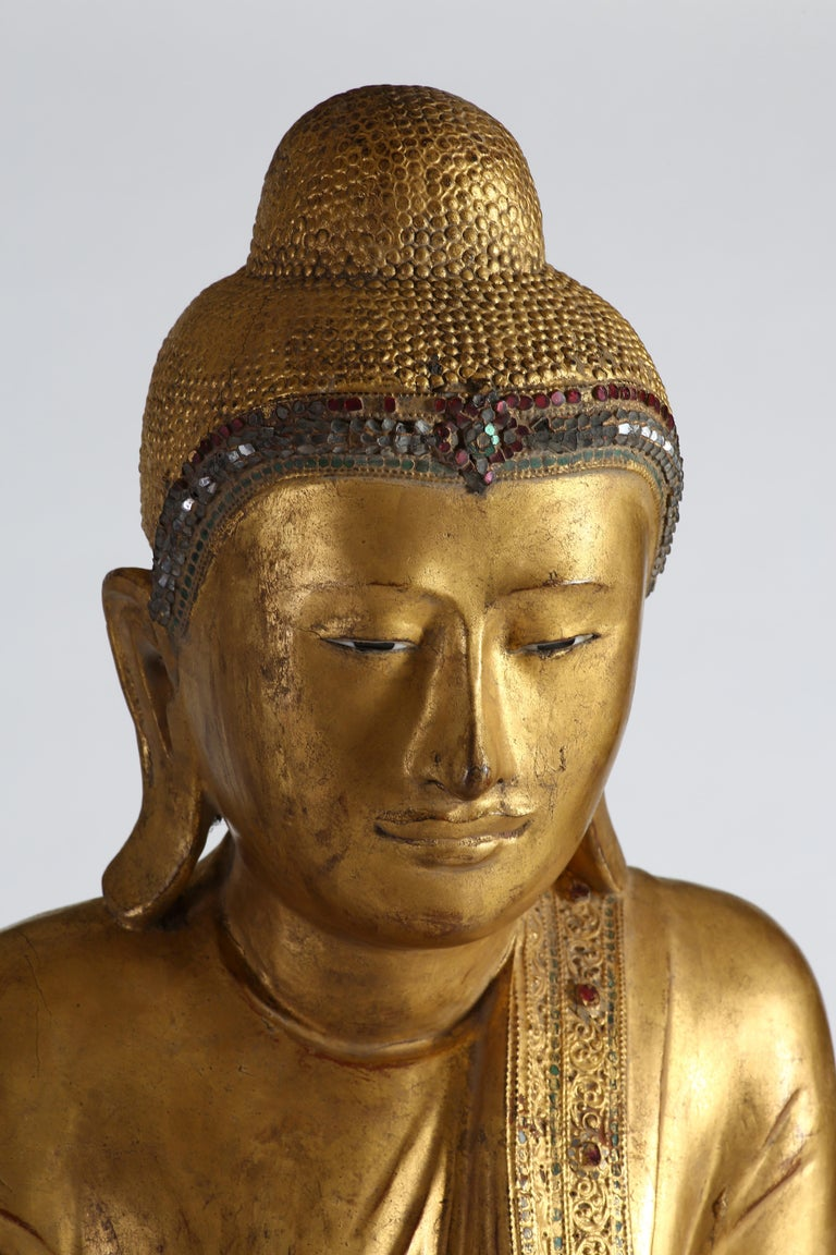 Antique Burmese Gilt Standing Buddha, Mandalay, 19th Century For Sale 4