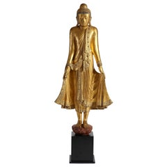 Antique Burmese Gilt Standing Buddha, Mandalay, 19th Century