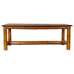 Antique Burmese Japanese Style Bamboo Console Table with Negora Lacquer