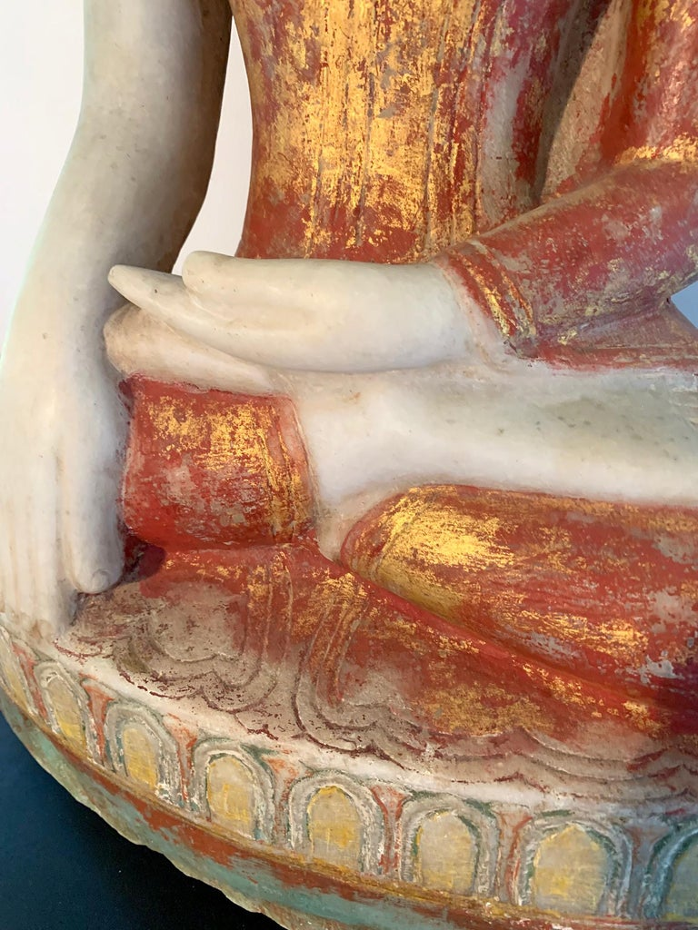 Antique Burmese Marble Buddha Statue For Sale 6