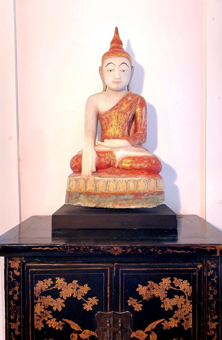 Antique Burmese Marble Buddha Statue For Sale 7