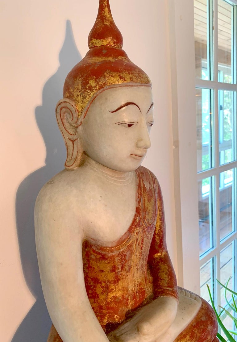 Antique Burmese Marble Buddha Statue In Good Condition For Sale In Atlanta, GA