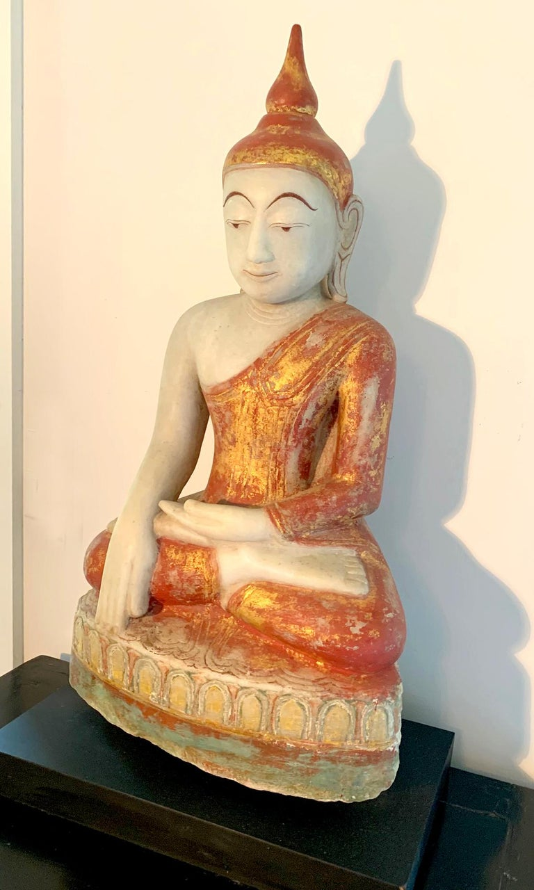19th Century Antique Burmese Marble Buddha Statue For Sale