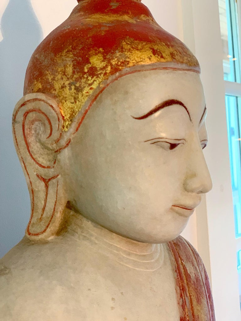 Antique Burmese Marble Buddha Statue For Sale 1