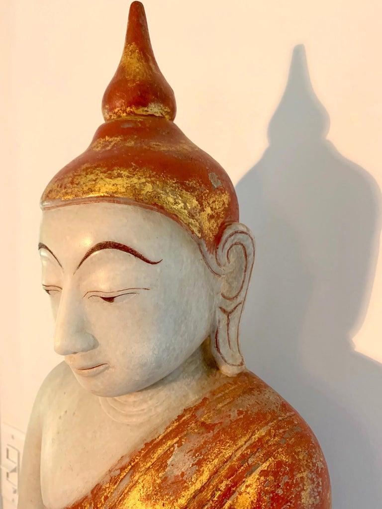 Antique Burmese Marble Buddha Statue For Sale 2