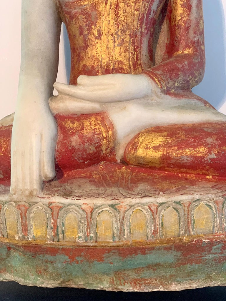 Antique Burmese Marble Buddha Statue For Sale 3