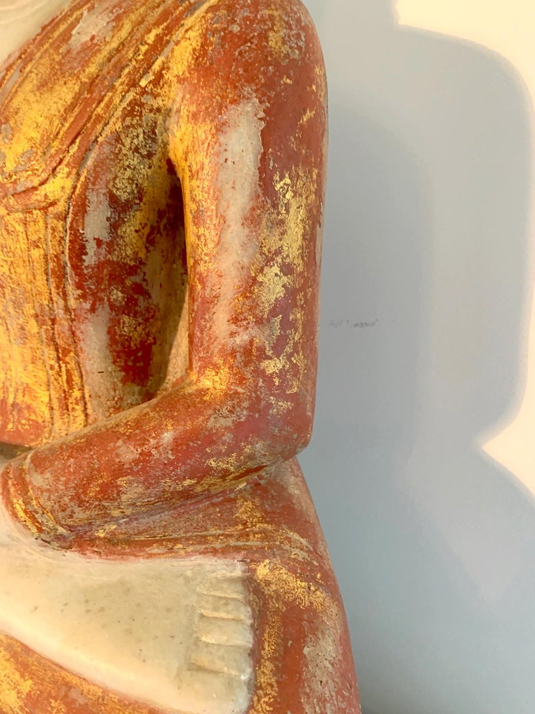 Antique Burmese Marble Buddha Statue For Sale 5