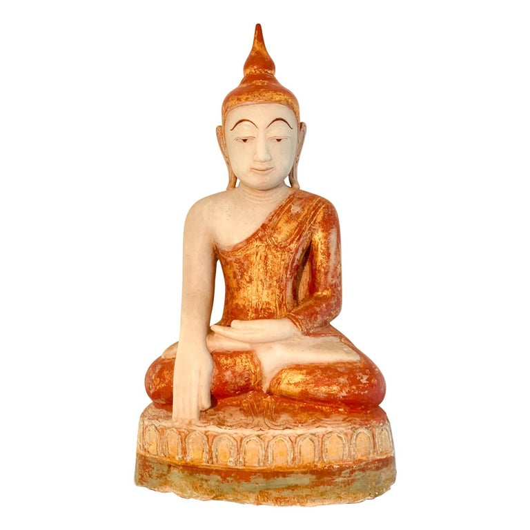 Antique Burmese Marble Buddha Statue For Sale