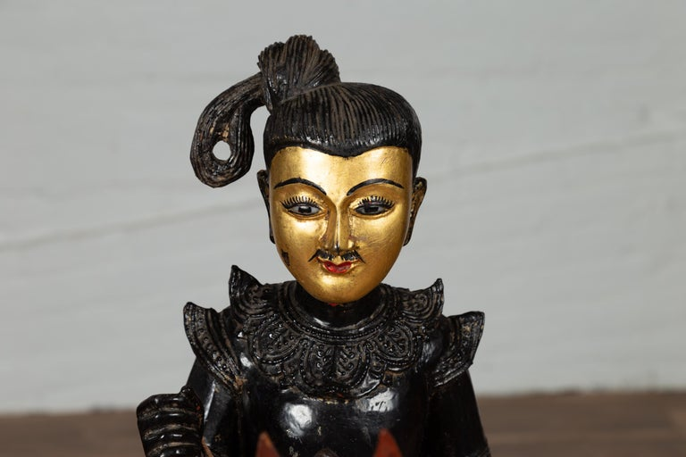 Vintage Burmese Polychrome Carved Wooden Statue of a Warrior on his Horse For Sale 9