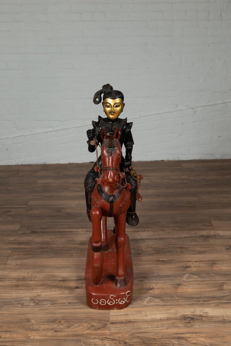 Vintage Burmese Polychrome Carved Wooden Statue of a Warrior on his Horse For Sale 11