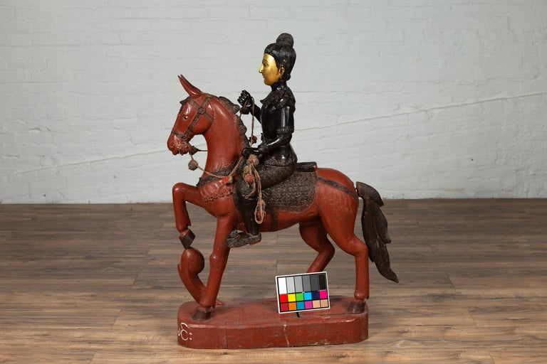 Vintage Burmese Polychrome Carved Wooden Statue of a Warrior on his Horse For Sale 14