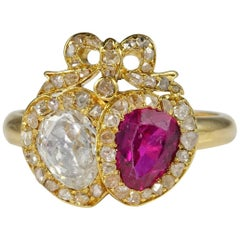 Antique certified Burmese Ruby and Diamond Double Heart Ring
