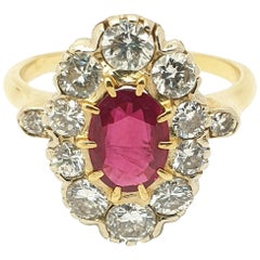 Antique Burmese Ruby Diamond Cluster French Ring