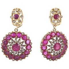 Antique Burmese Ruby Earrings