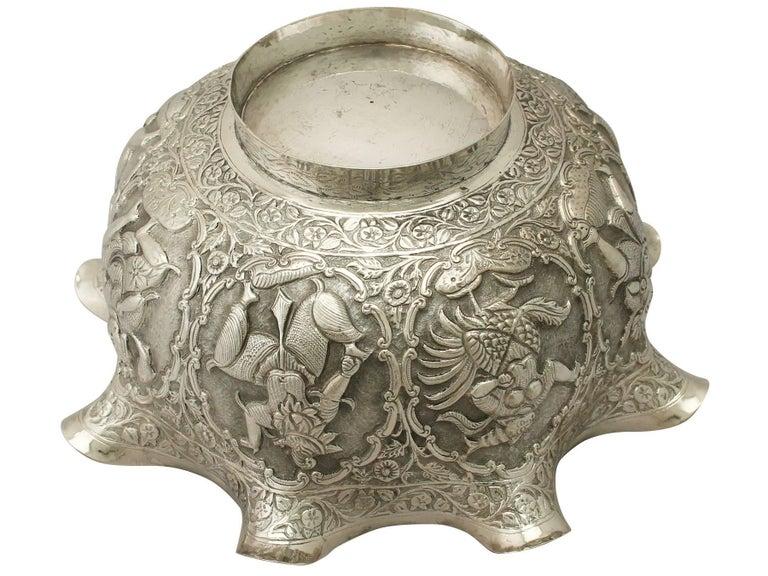 Antique Burmese Silver Bowl For Sale 6