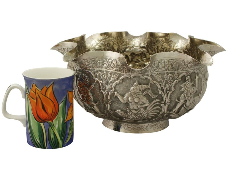 Late 19th Century Antique Burmese Silver Bowl For Sale