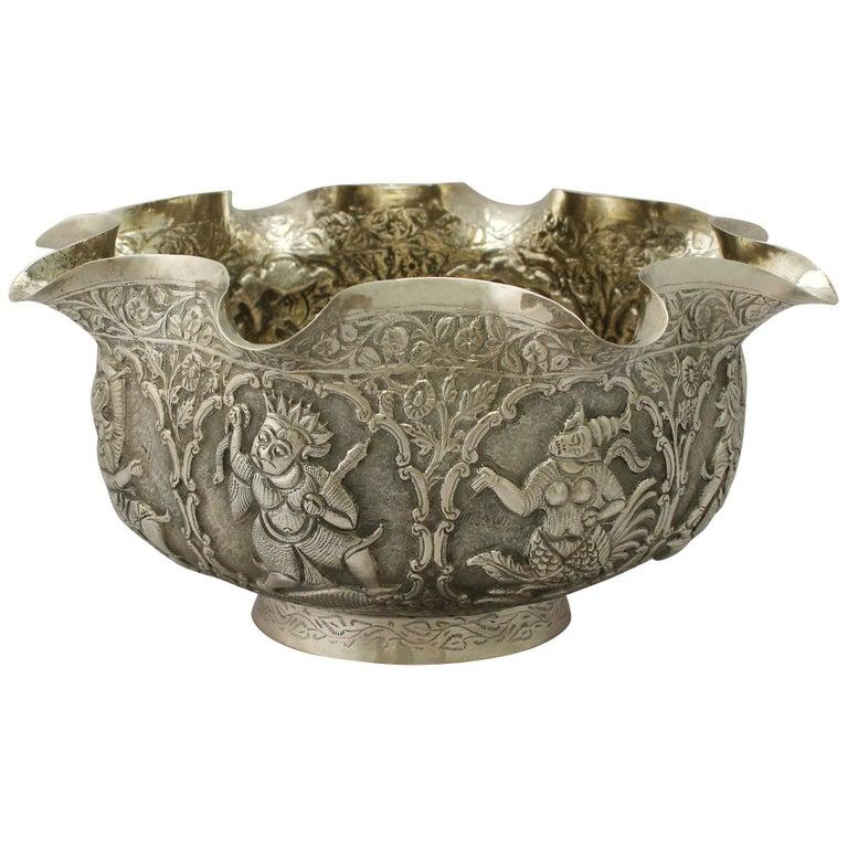 Antique Burmese Silver Bowl For Sale