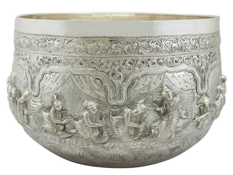 Embossed Antique Burmese Silver Thabeik Bowl For Sale