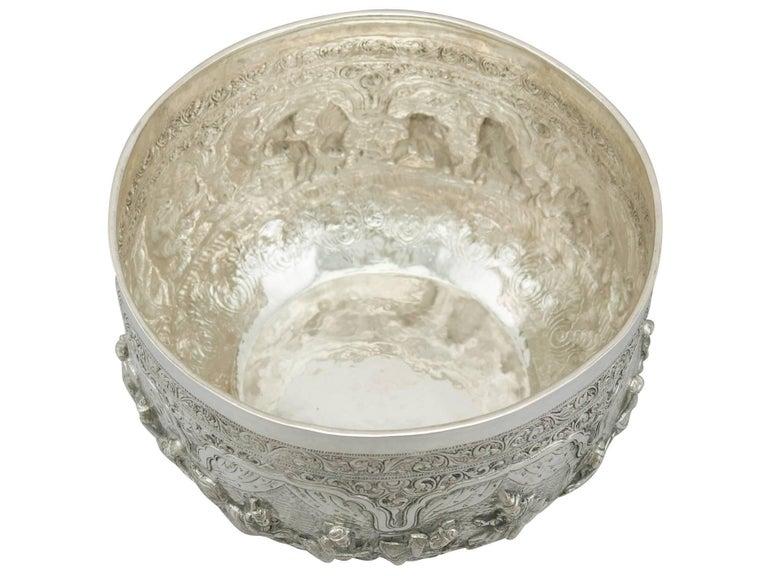 Late 19th Century Antique Burmese Silver Thabeik Bowl For Sale