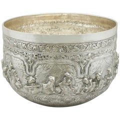 Antique Burmese Silver Thabeik Bowl