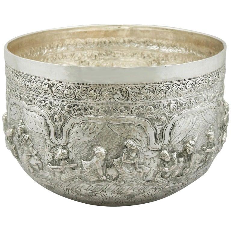 Antique Burmese Silver Thabeik Bowl For Sale