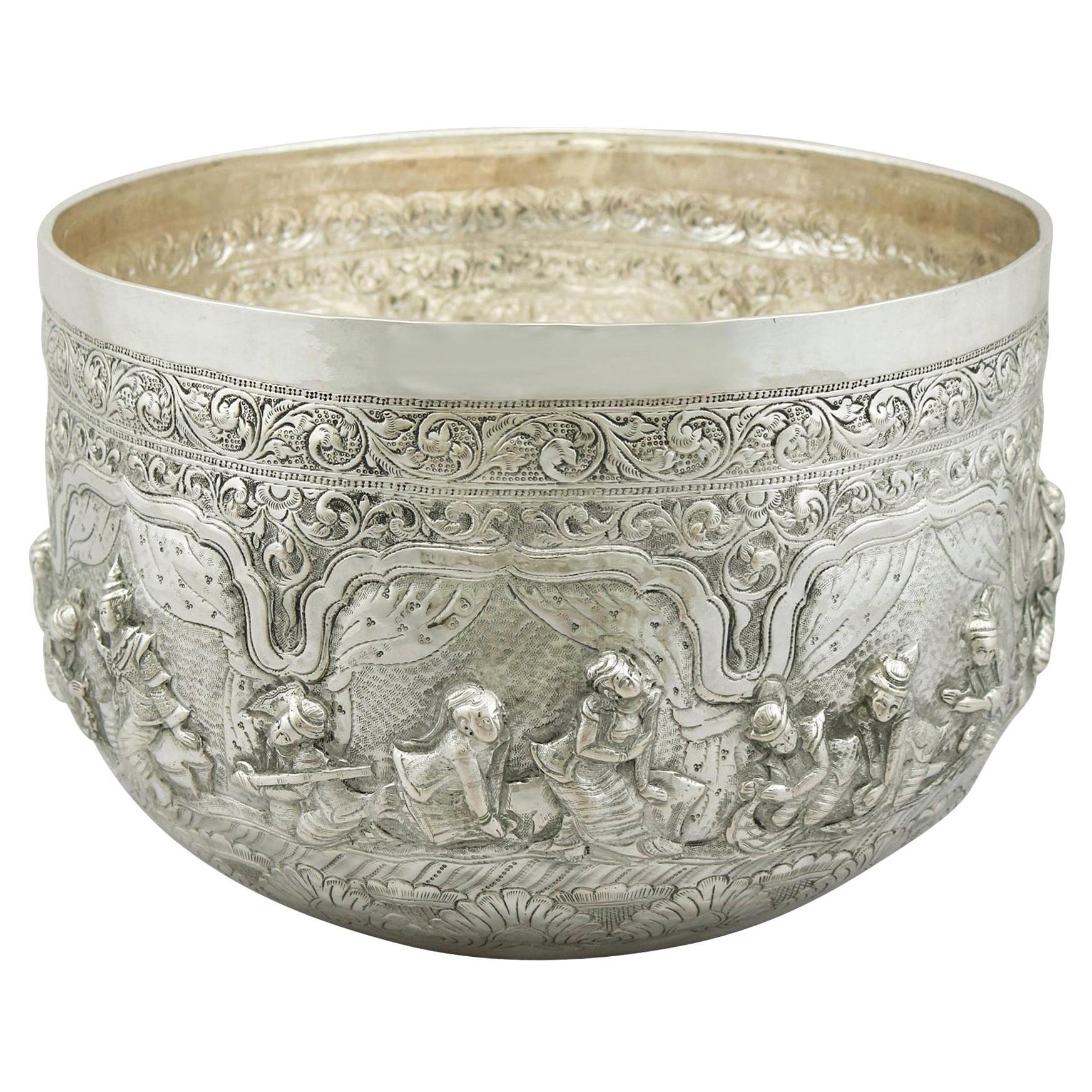 Antique Burmese Silver Thabeik Bowl