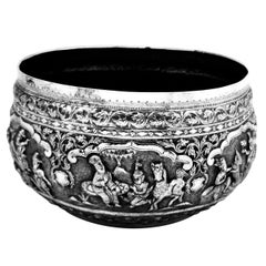 Antique Burmese Solid Silver Bowl circa 1900