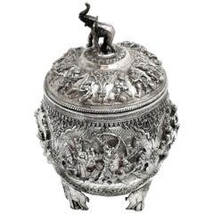 Antique Burmese Solid Silver Box / Covered Bowl & Lid circa 1890 Burma / Myanmar