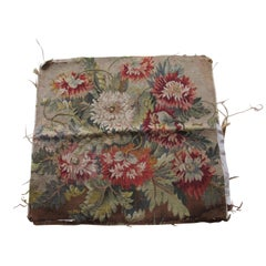 Antique Burnt Orange and green Floral Aubusson Tapestry Fragment