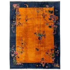 Antique Burnt Orange Art Deco Chinese Wool Rug