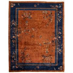 Antique Burnt Orange Chinese Wool Rug