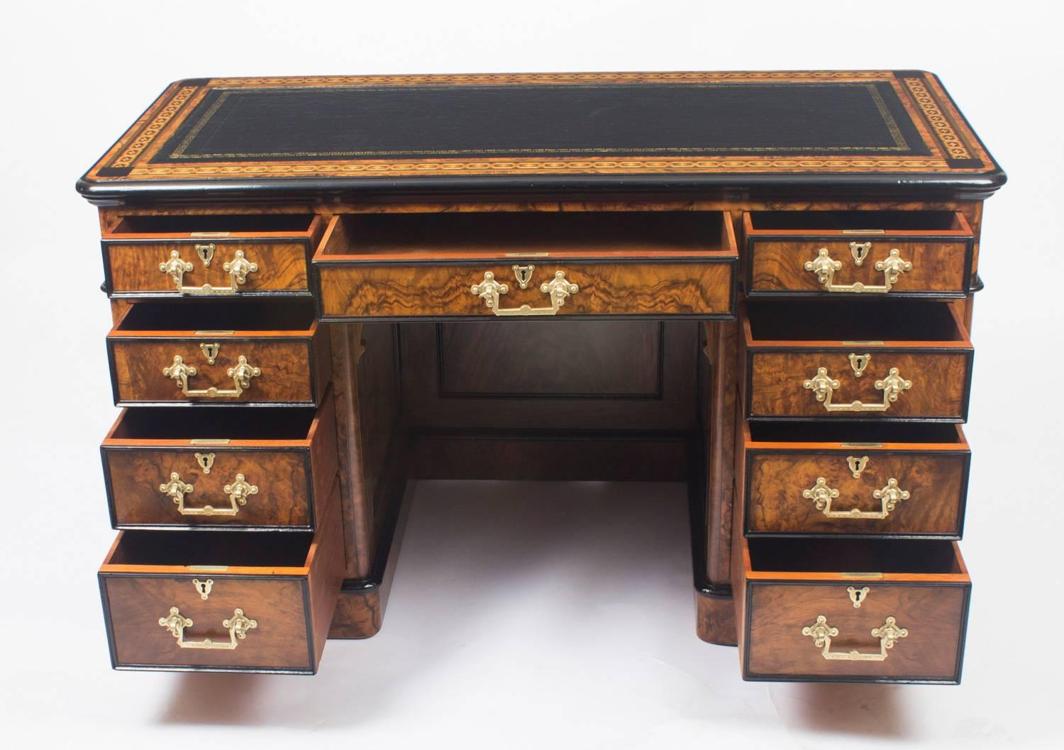 Antique Burr Walnut and Ebonised Marquetry Pedestal Desk, 19th Century For  Sale at 1stdibs - Antique Burr Walnut And Ebonised Marquetry Pedestal Desk, 19th