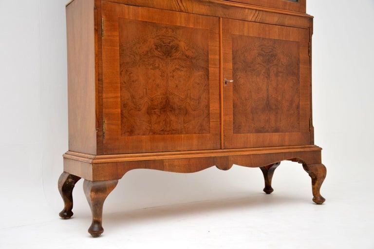 English Antique Burr Walnut Bookcase For Sale