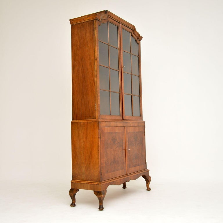 Early 20th Century Antique Burr Walnut Bookcase For Sale