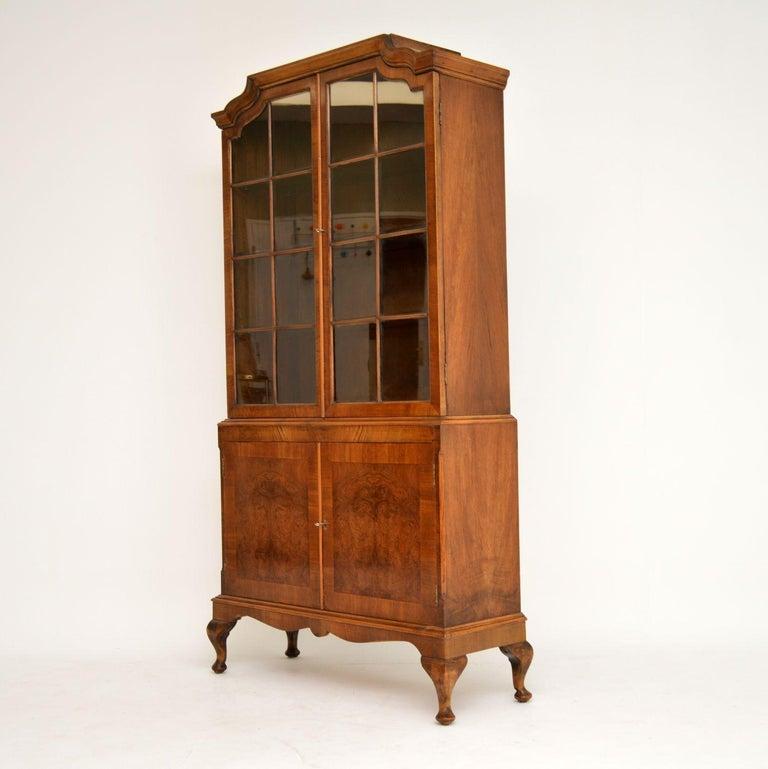 Antique Burr Walnut Bookcase For Sale 1