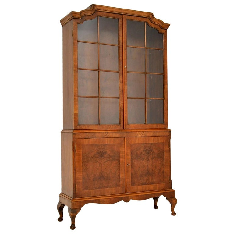 Antique Burr Walnut Bookcase For Sale