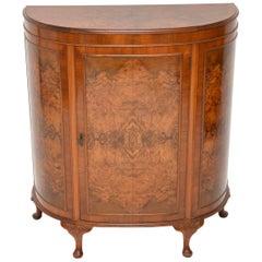 Antique Burr Walnut Bow Front Cabinet