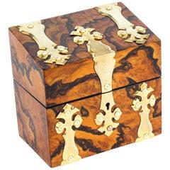 Antique Burr Walnut Brass Perfume Box, 19th Century