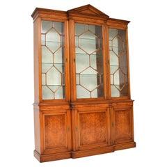 Antique Burr Walnut Breakfront Bookcase / Display Cabinet