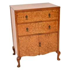 Antique Burr Walnut Chest on Cabinet