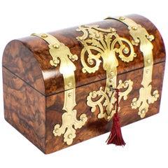 Antique Burr Walnut Cut Brass Mounted Stationery Box, 19th Century